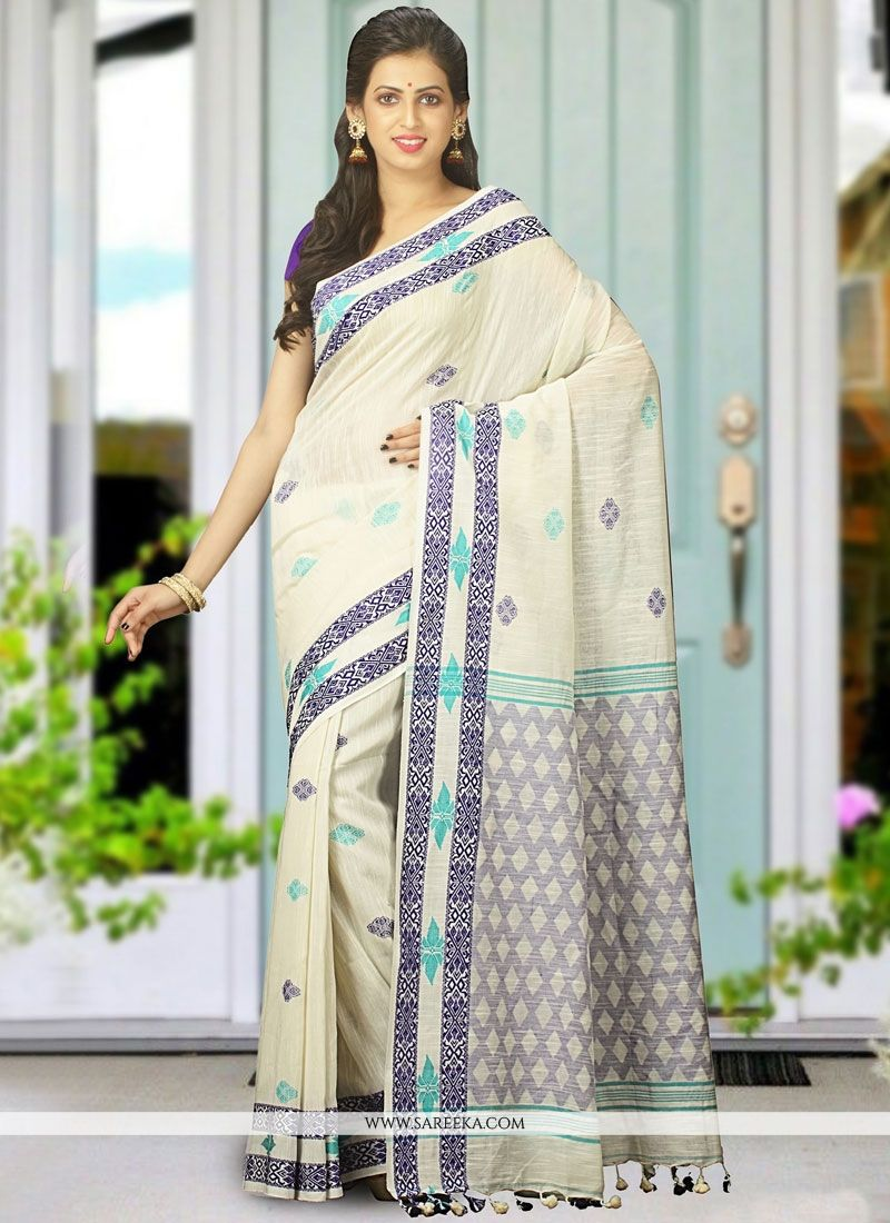 Khadi White woven Work Designer Traditional Saree