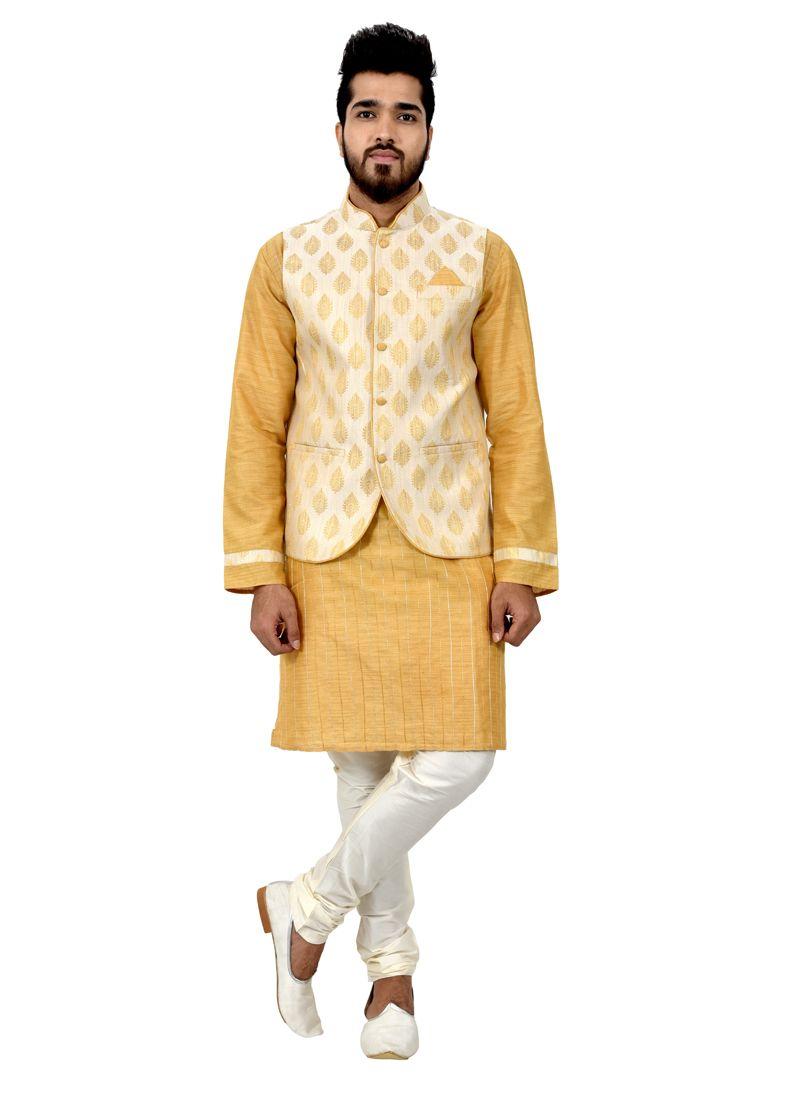 Kurta Payjama With Jacket For Mehndi