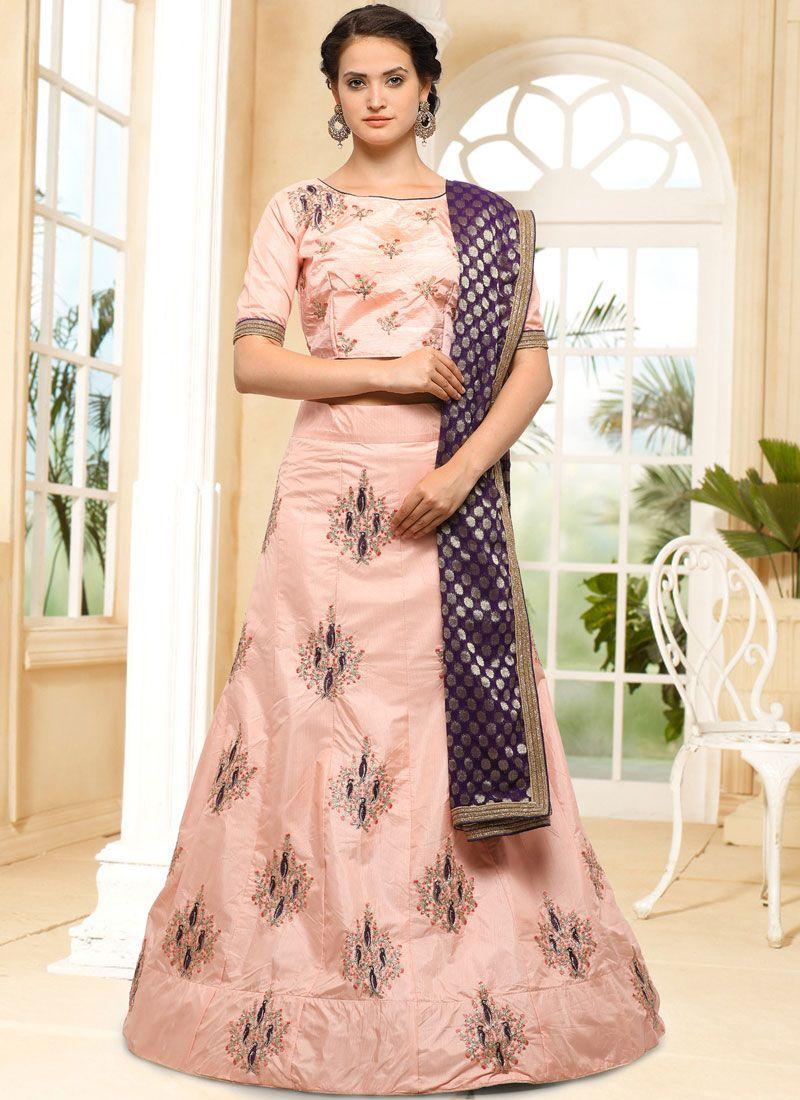 Lace Art Silk Lehenga Choli in Pink