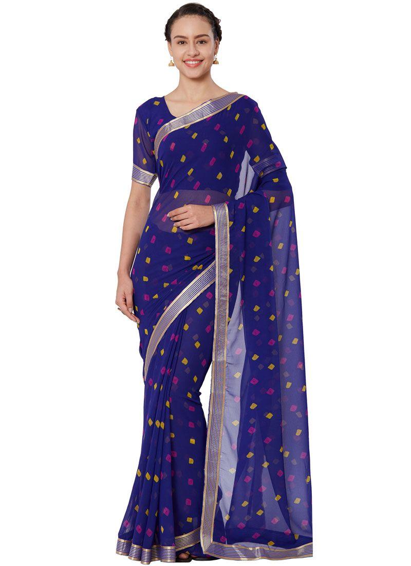 Lace Blue Casual Saree