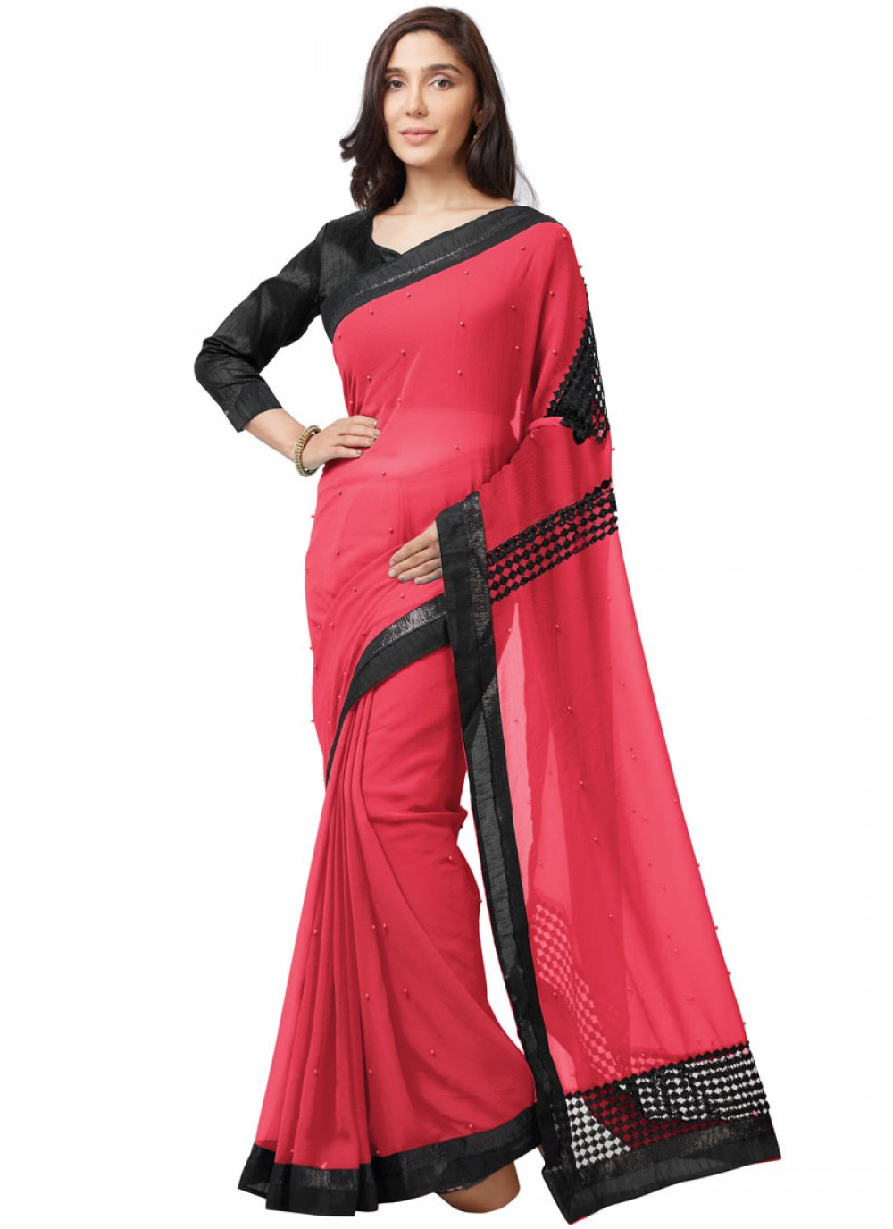 Lace Faux Chiffon Casual Saree