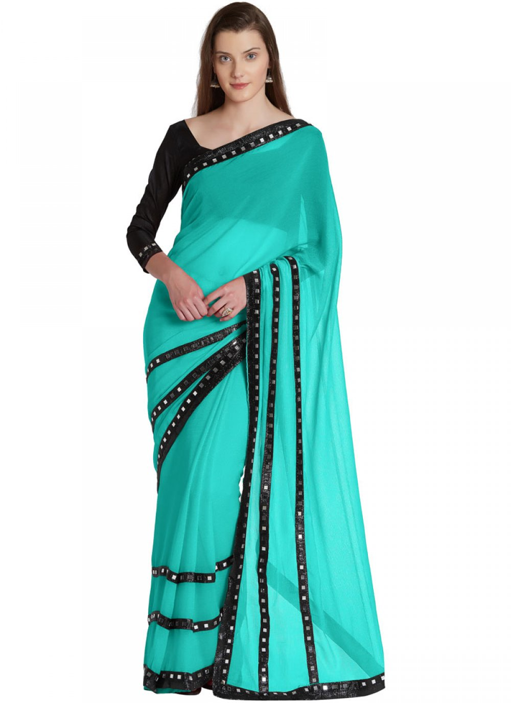 Lace Faux Chiffon Designer Saree in Turquoise
