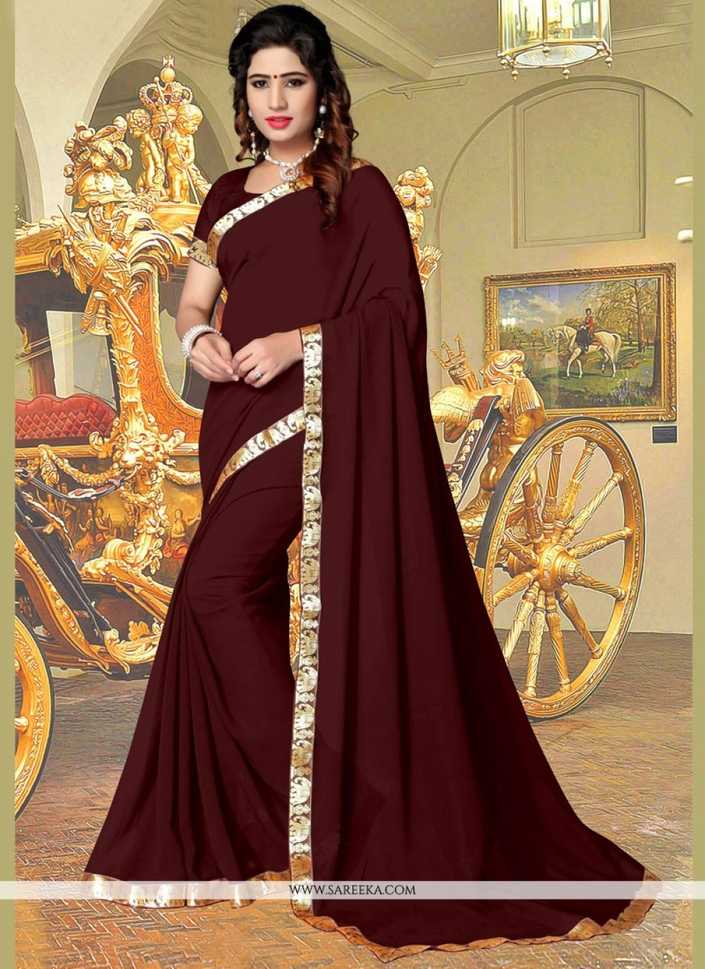 Lace Faux Georgette Casual Saree in Brown