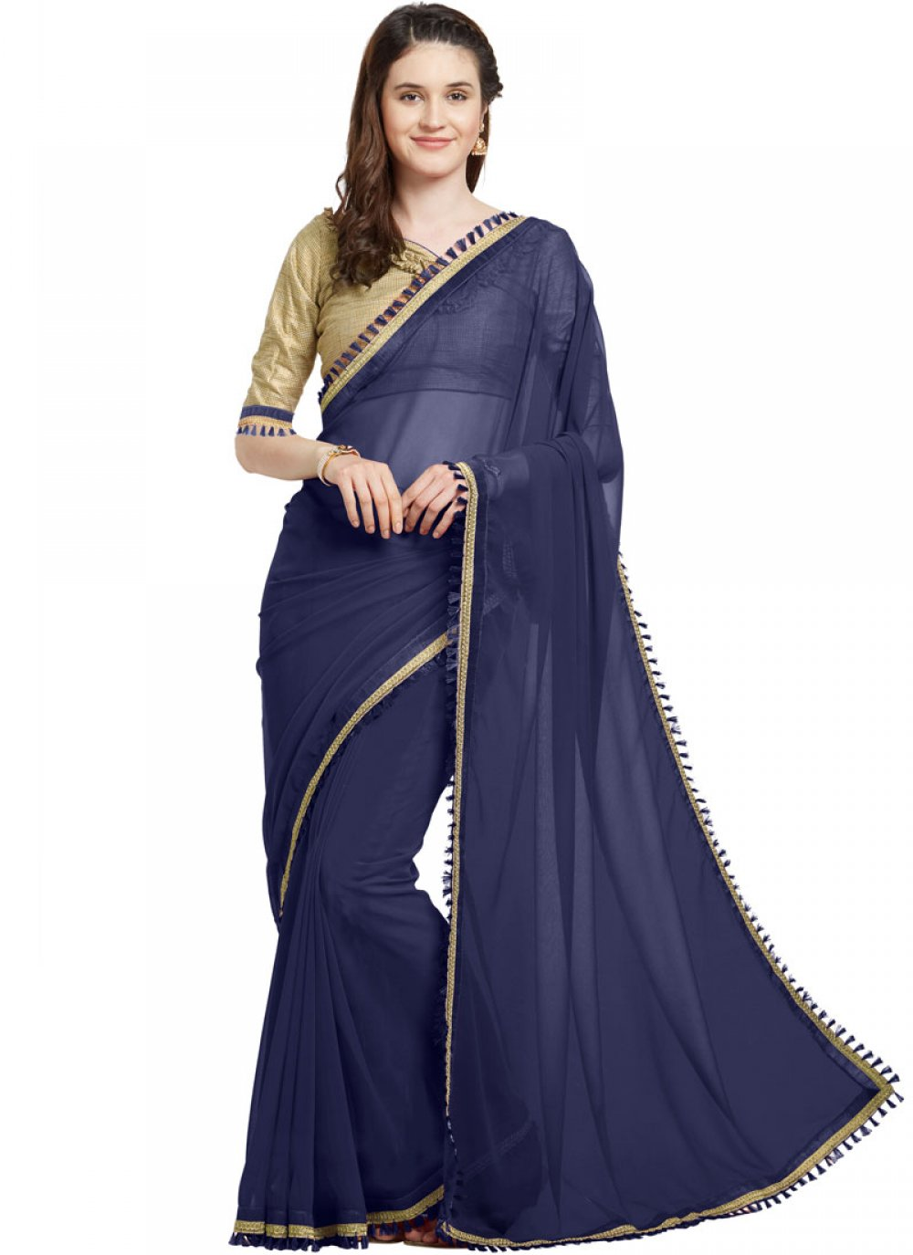 Lace Faux Georgette Casual Saree in Navy Blue