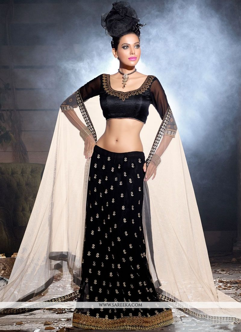 Lace Faux Georgette Lehenga Choli in Black
