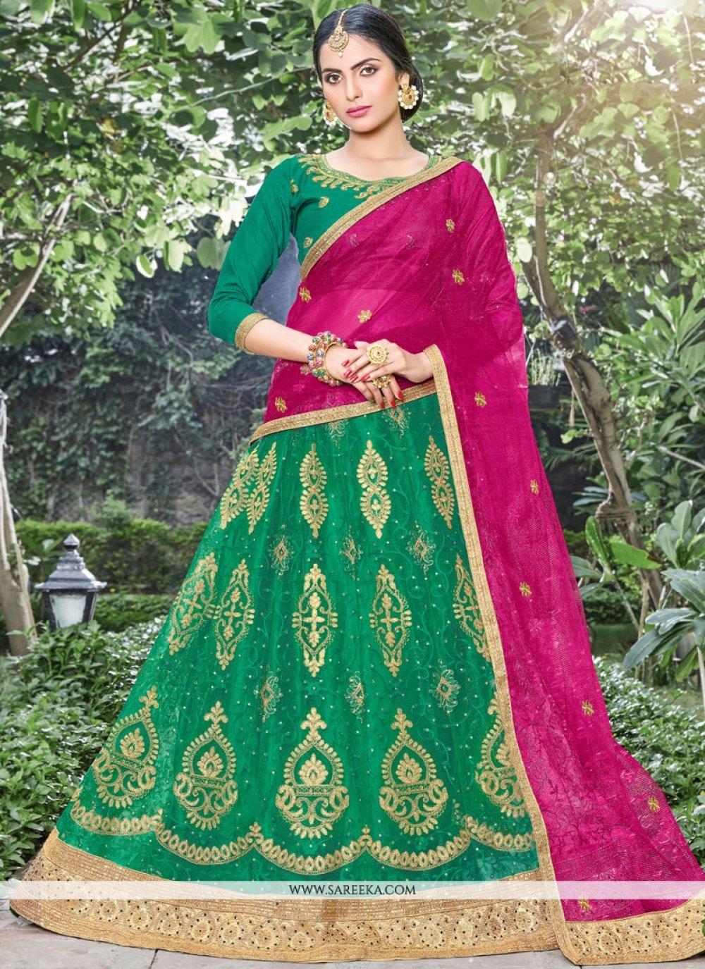 Lace Net Lehenga Choli in Green