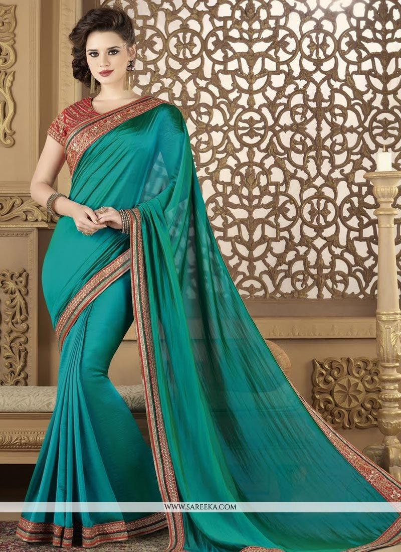 Lace Work Art Silk Designer Traditional Saree