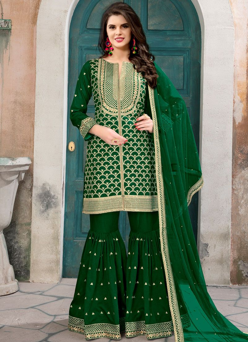 d7f8e4e648 Buy Lace Work Art Silk Green Designer Pakistani Suit Online -