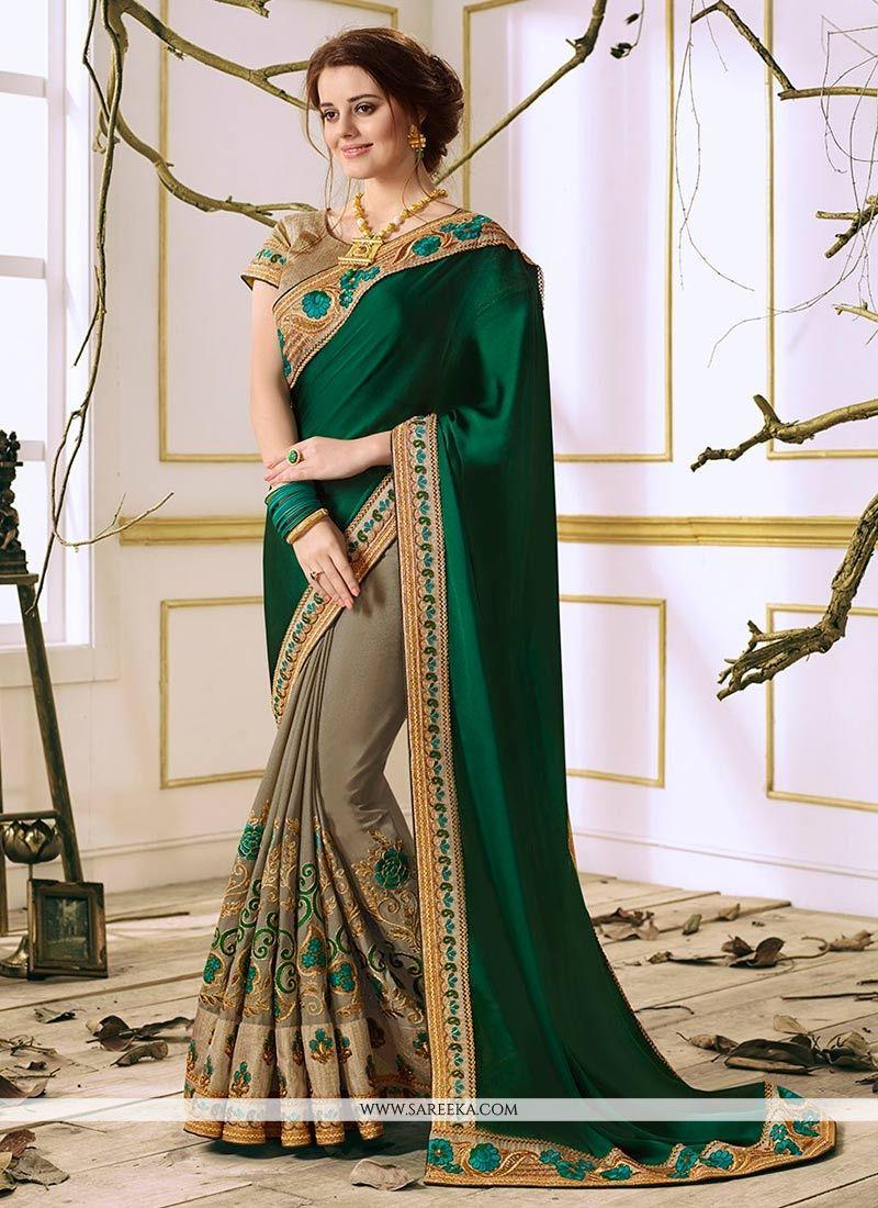 Lace Work Beige and Green Designer Half N Half Saree