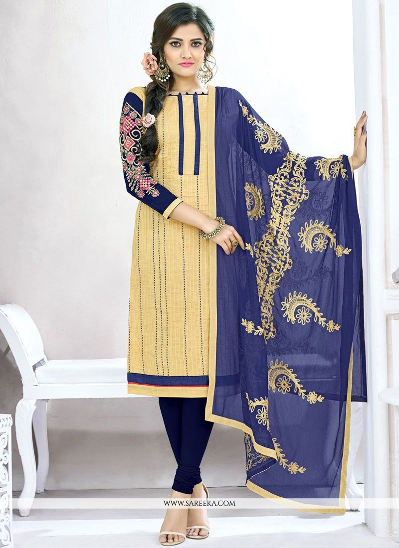 Lace Work Cotton   Churidar Suit