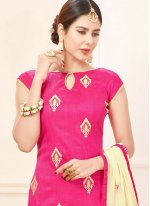 Lace Work Cotton   Hot Pink Churidar Suit