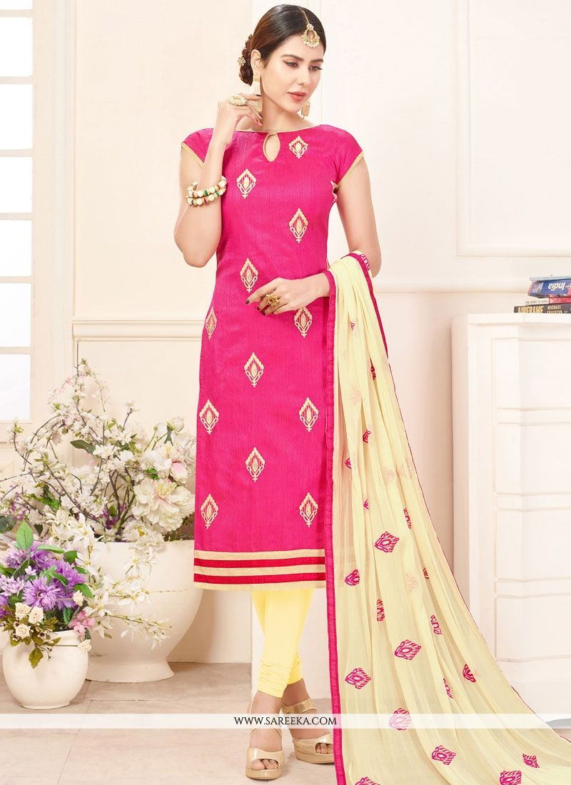 Lace Work Cotton   Hot Pink Churidar Suit