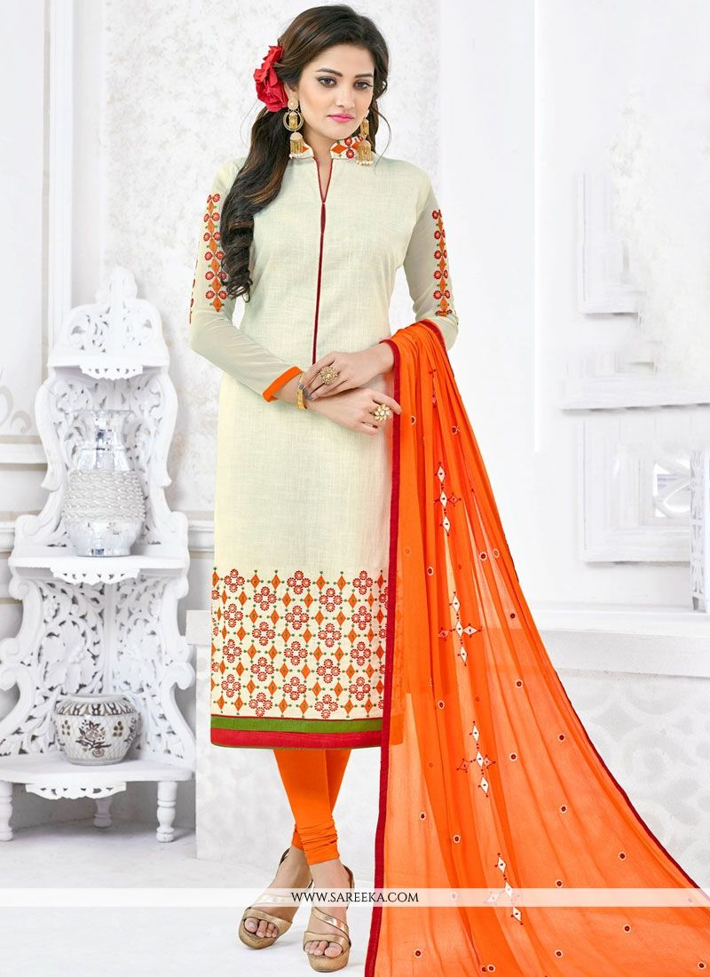 Lace Work Cotton   White Churidar Suit