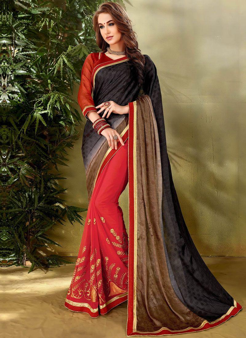 Lace Work Designer Half N Half Saree