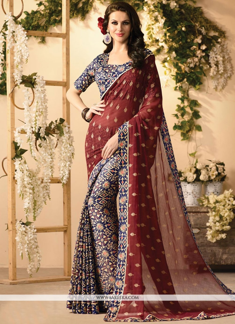 Lace Work Faux Georgette Casual Saree