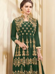 Lace Work Faux Georgette Floor Length Anarkali Suit