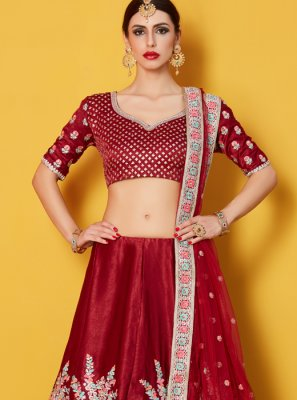 Lace Work Maroon Art Silk Lehenga Choli