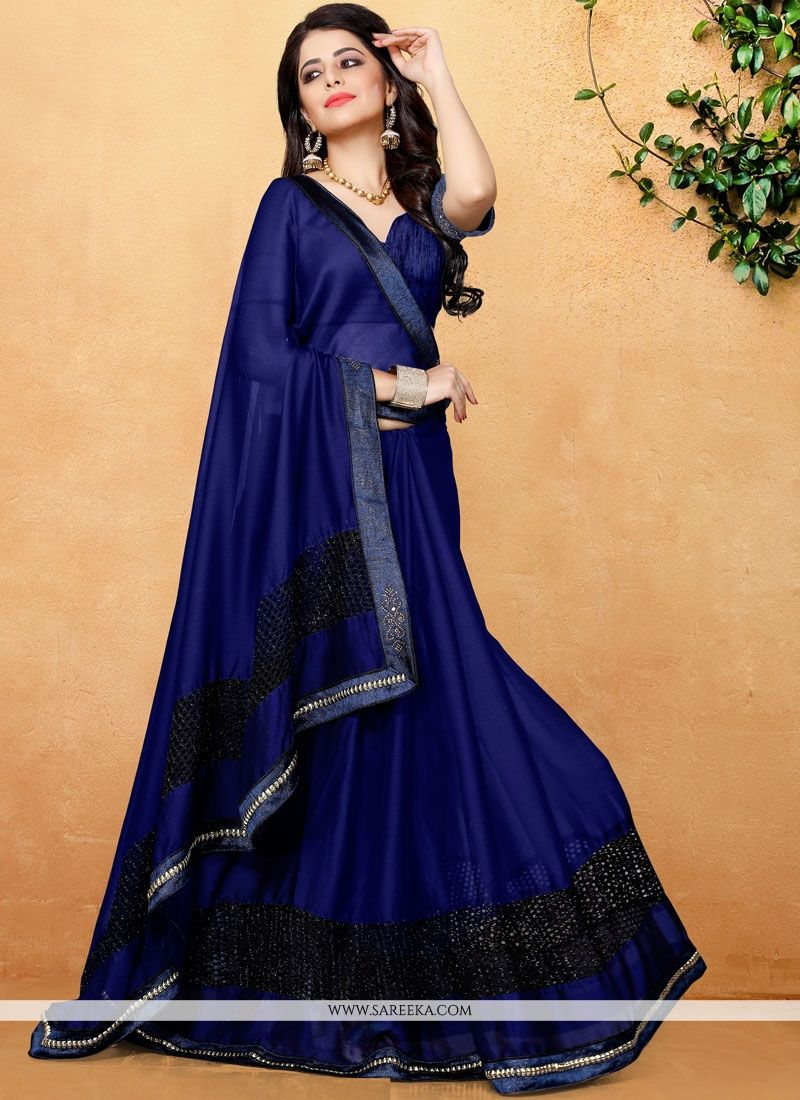 Lace Work Navy Blue Classic Saree