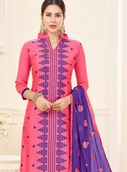 Lace Work Rose Pink Churidar Suit