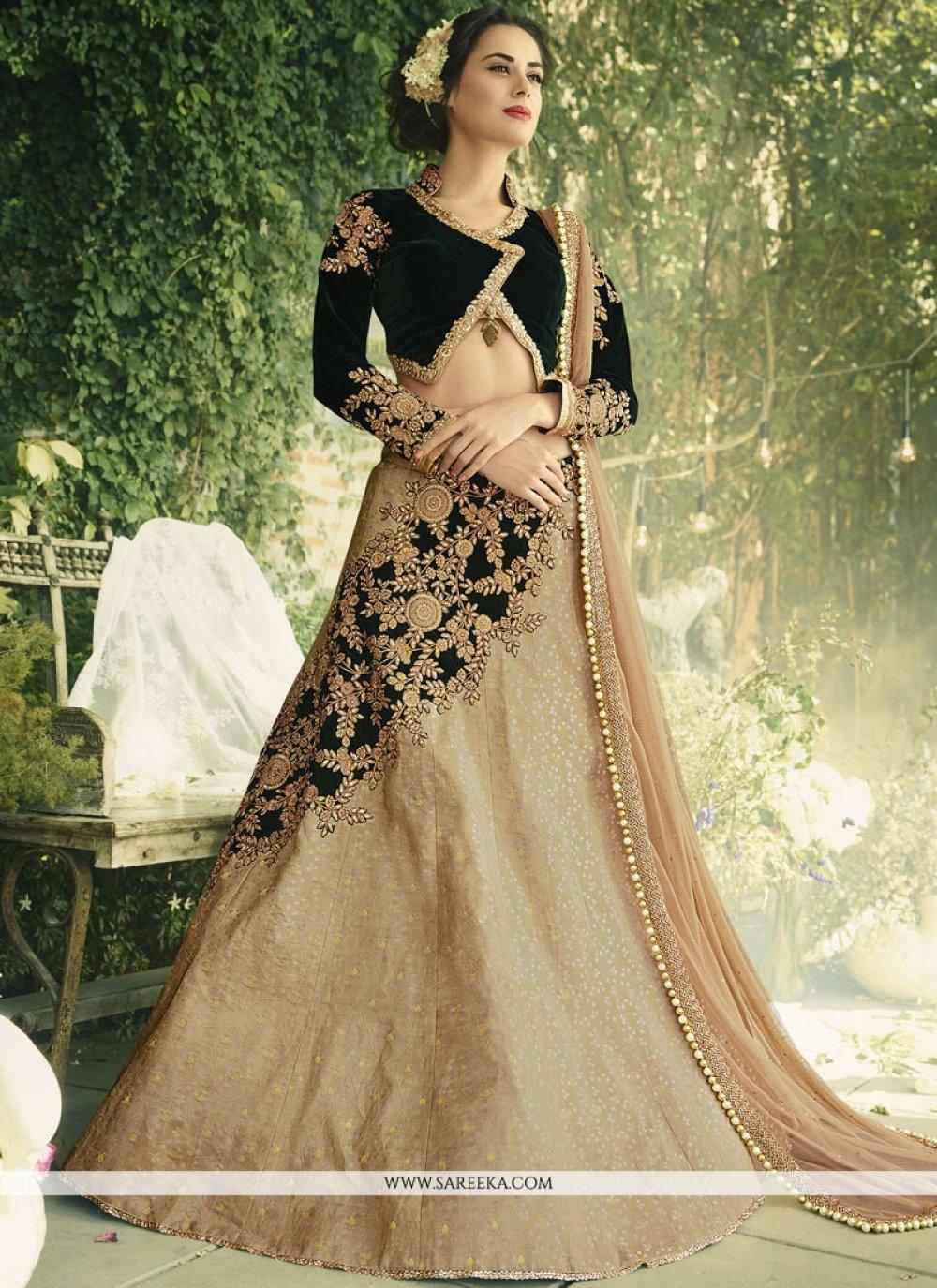 Lace Work Velvet Lehenga Choli