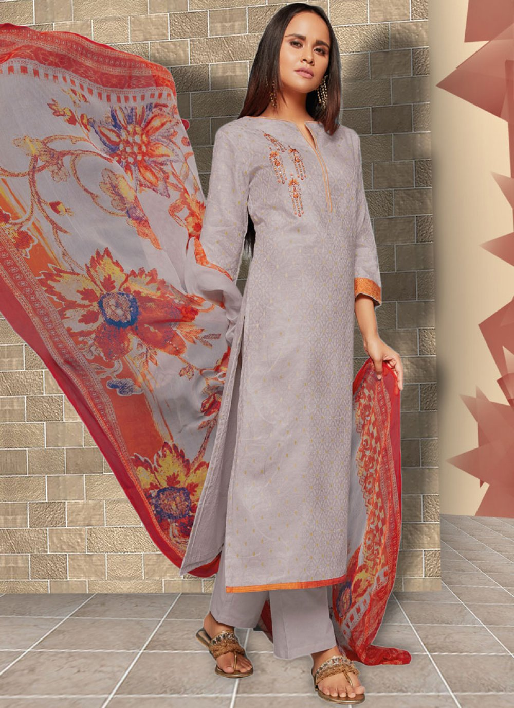 Lavender Art Silk Embroidered Designer Palazzo Suit