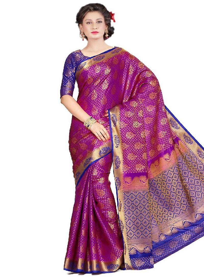 Lavender Weaving Work Kanchipuram silk Classic Designer Saree