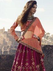 Lehenga Choli Embroidered Silk in Hot Pink
