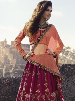 Lehenga Choli Embroidered Silk in Hot Pink
