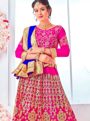 Lehenga Choli Patch Border Net in Hot Pink