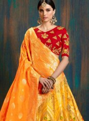 Lehenga Choli Weaving Art Silk in Yellow