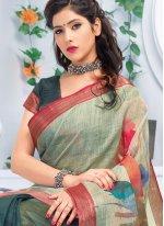Linen Multi Colour Abstract Print Printed Saree