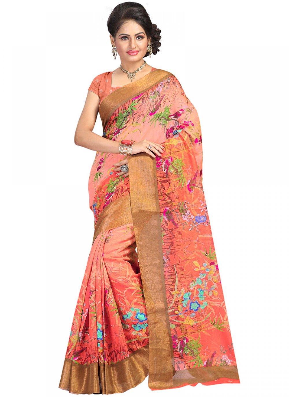 Linen Print Printed Saree