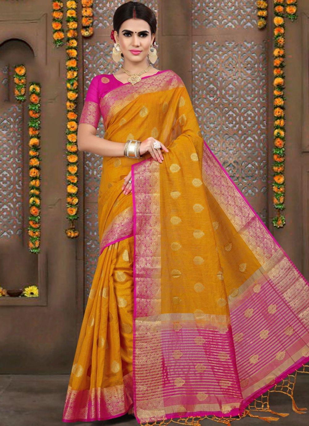 Linen Weaving Mustard And Pink Designer Traditional Saree