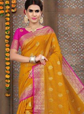 Linen Weaving Orange Designer Traditional Saree
