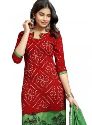 Lovable Red Colored Churidar Suit