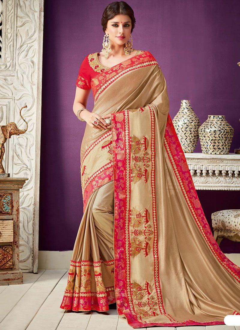 Lycra Gold Embroidered Work Designer Saree