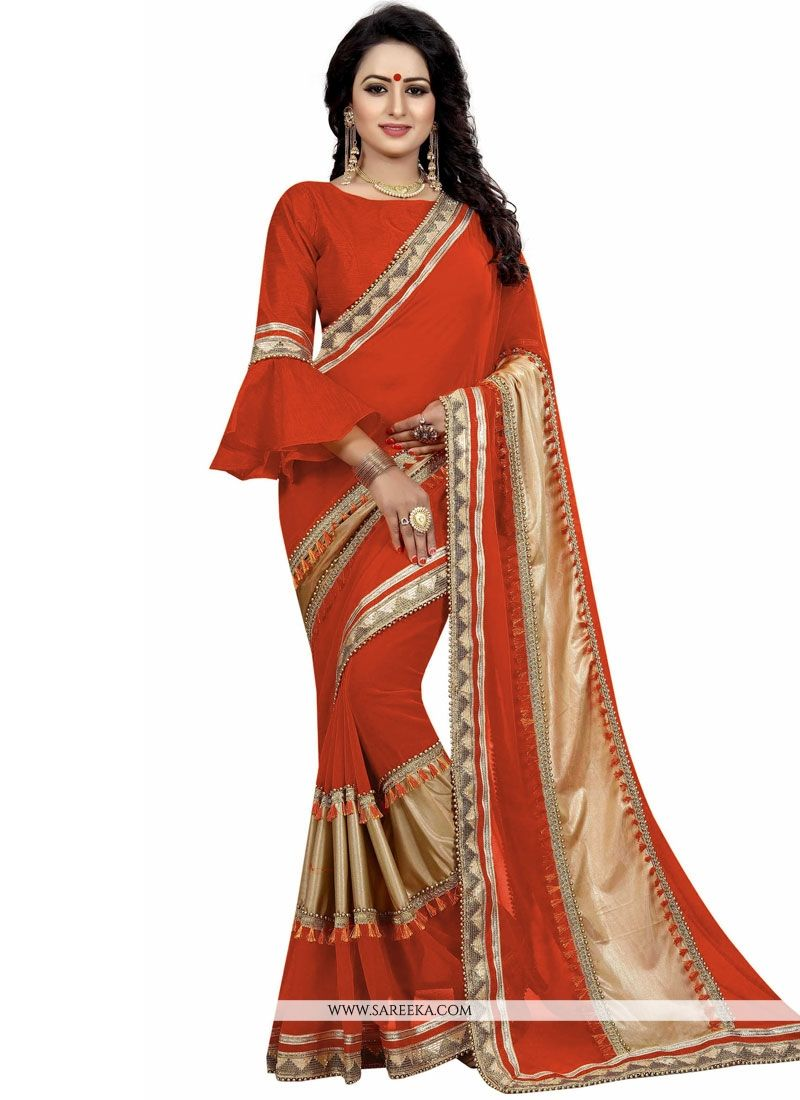 Lycra Orange Designer Traditional Saree