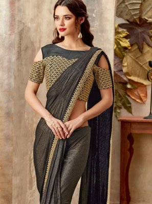 Lycra Sequins Designer Saree in Black