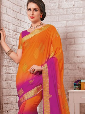 Magenta and Orange Crepe Silk Shaded Saree