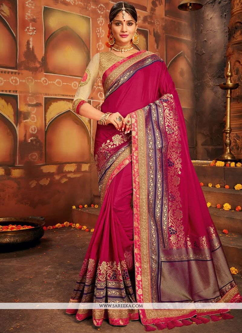 Magenta Art Silk Designer Traditional Saree