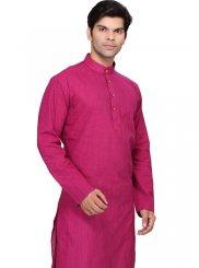 Magenta Cotton   Kurta Pyjama with Plain