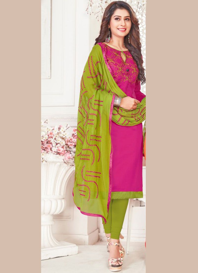 Magenta Cotton Satin Churidar Suit