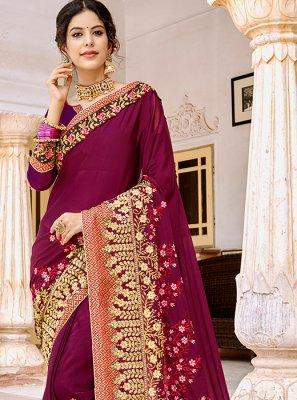 Magenta Embroidered Trendy Saree
