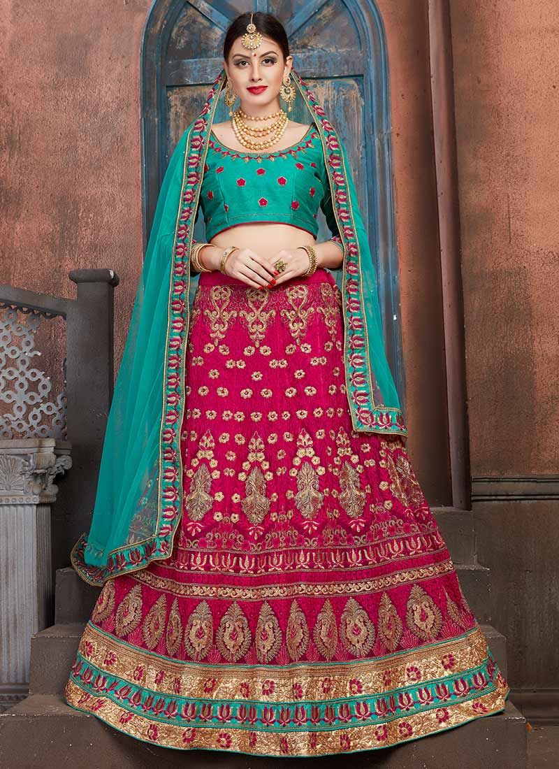Magenta Embroidered Work Lehenga Choli
