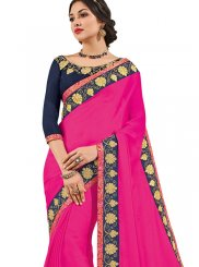 Magenta Patchwork Work Trendy Saree