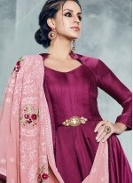 Magenta Readymade Anarkali Suit
