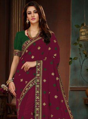 Magenta Resham Art Silk Traditional Designer Saree
