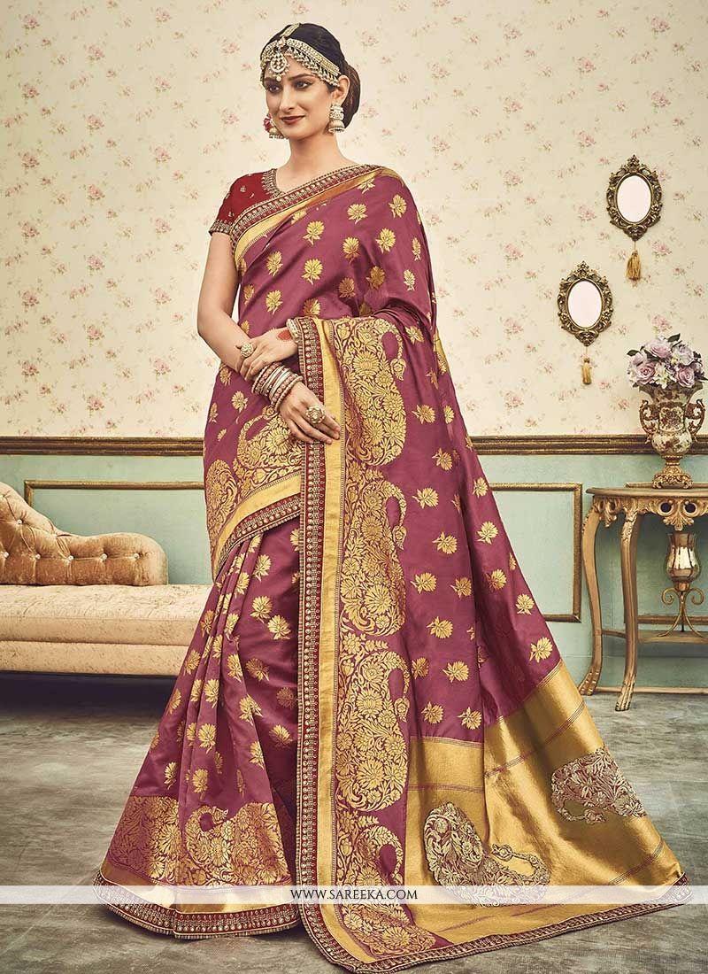 Magenta Weaving Work Traditional Designer Saree