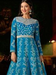 Malbari Silk  Embroidered Anarkali Salwar Kameez in Blue