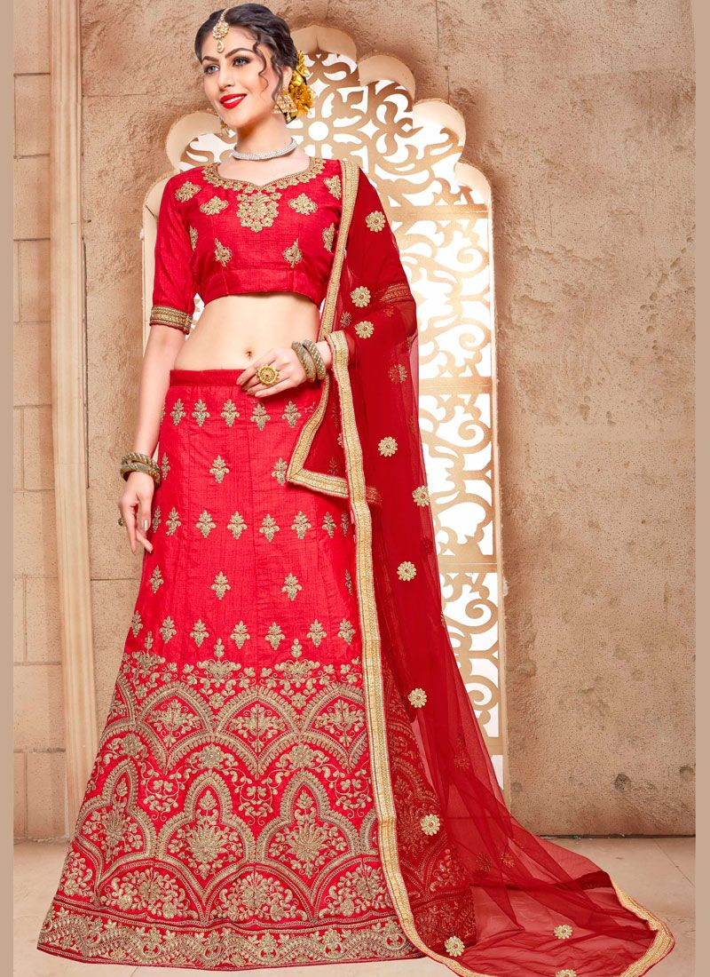 Malbari Silk  Red Lehenga Choli